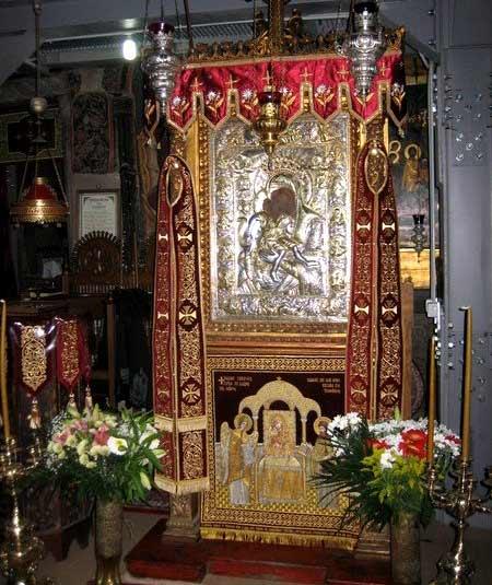 """Icoana făcătoare de minuni a Maicii Domnului """"Axion Estin"""" de la Biserica Protaton, Karyes, Sfântul Munte Athos"""