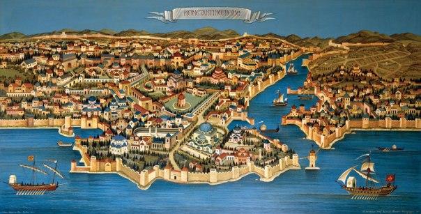 Byzantine Constantinople, 1990. 121x227cm, acrylic