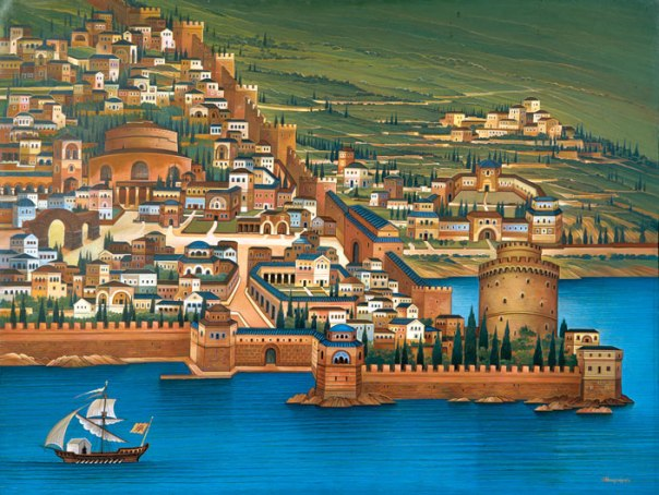 Byzantine Thessaloniki, 1997. 60x80 cm. acrylic. «IANOS» Bookstore collection