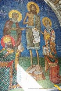 Frescă la intrare în Mănăstirea Dionisiu cu Împăratul bizantin Alexis Comnenul, Neagoe Basarab, Cuv. Dionisie, Nifon Patriarhul si Sf. Ioan Botezatorul. Singurul fără aură fiind Domnitorul Neagoe Basarab canonizat în 2008.  Fresca este la acest moment (2013) acoperită