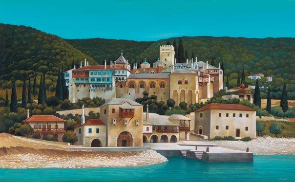 Dohiariou Monastery, Mount Athos. 80x120 cm. acrylic
