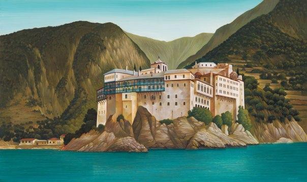 Gregoriou Monastery, Mount Athos. 80x120 cm acrylic