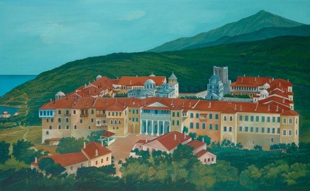 Iviron Monastery, Mount Athos. 80x120 cm acrylic
