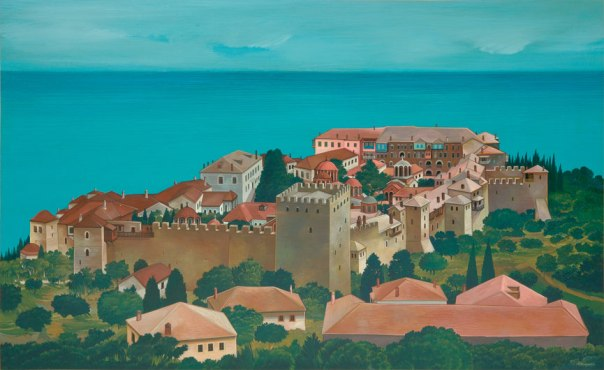 Megisti Lavra Monastery, Mount Athos. 80x120 cm acrylic