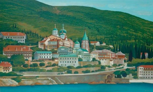 St. Panteleimon Monastery, Mount Athos. 80x120 cm. acrylic
