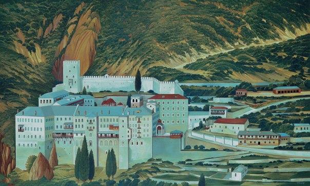 St. Pavlos Monastery, Mount Athos. 80x120 cm. acrylic
