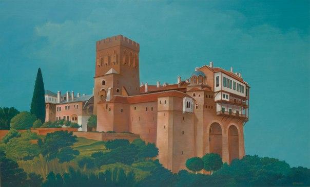 Stavronikita Monastery, Mount Athos. 80x120 cm. acrylic