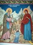 Prodromu. Fresca de la arhondaric cu Maica Domnului si Sf. Athanasie