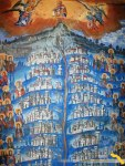 Prodromu. Fresca din pridvorul Bisericii. Maica Domnului Protectoarea manastirilor athonite (1)