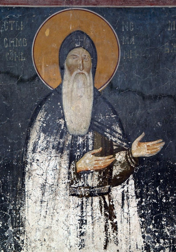 The fresco of young Saint Simeon, King`s Church in Studenica, Serbia