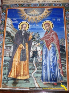 Marea Lavra. Pridvorul katholikonului, fresca cu minunea Maicii Domnului de la aghiazma